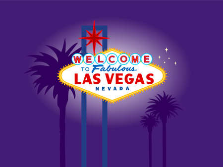welcome sign: Illustration of Las Vegas Welcome Sign at Night with Palm Trees in the Background