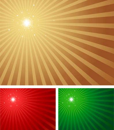 starbursts: Estrella brillante brillantes con un fondo radiales de Navidad en 3 colores. Una versi�n azul con estrellas, centrado tambi�n en la cartera. Vectores