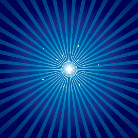 照らす: 青の放射状のバック グラウンドを持つ明るく輝く星。オフ中心のバージョンも私のポートフォリオで使用可能なクリスマス色で星の。  イラスト・ベクター素材