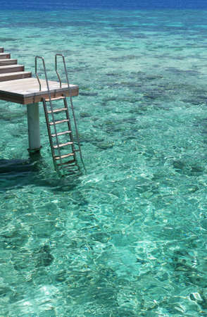 Ladder leading into the crystal-clear turquoise sea and coral reef Stock Photo