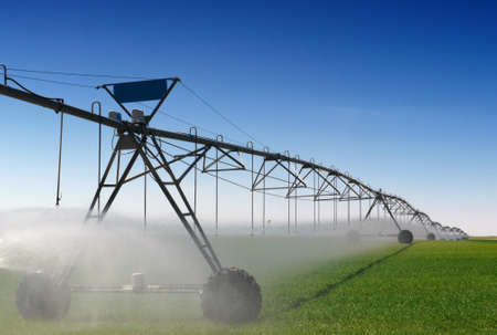 Crop Irrigation using the center pivot sprinkler system  photo