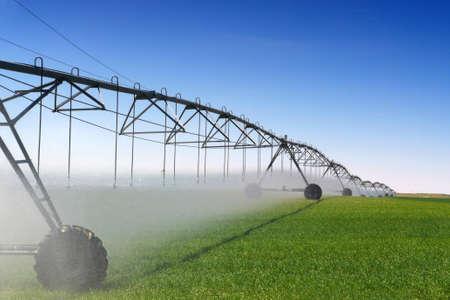 farming industry: Crop Irrigation using the center pivot sprinkler system