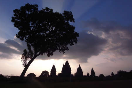 Prambanan Ruins-Silhouette of the ancient Hindu temples in Central Java, Indonesia Stock Photo
