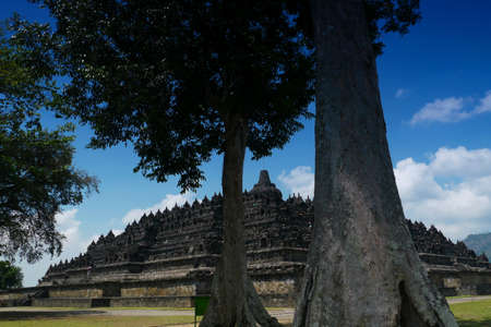 Borobudur,Central Java, Indonesia-Ancient 9th century Buddhist temple seen through the old trees on the temple grounds