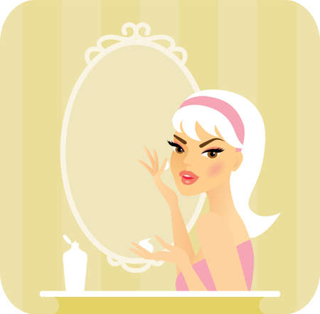 cheeks: Skincare series-Young woman applying moisturizer on her face with her fingers in front of a vanity mirror  Illustration