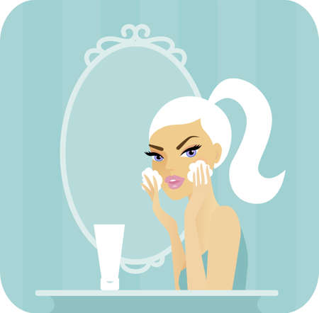 routines: Skincare series-Young woman washing her face in front of a vanity mirror Illustration