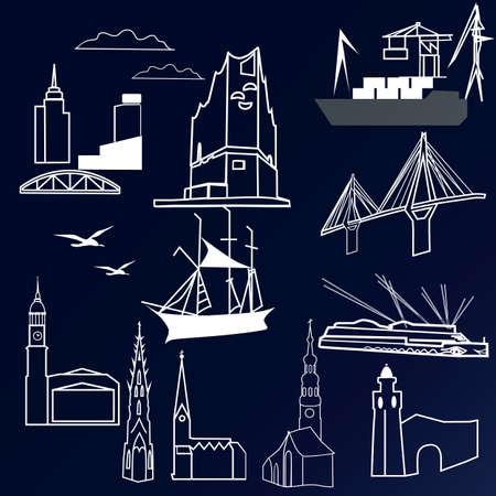 Fond d'illustration vectorielle avec set miniature de Hambourg