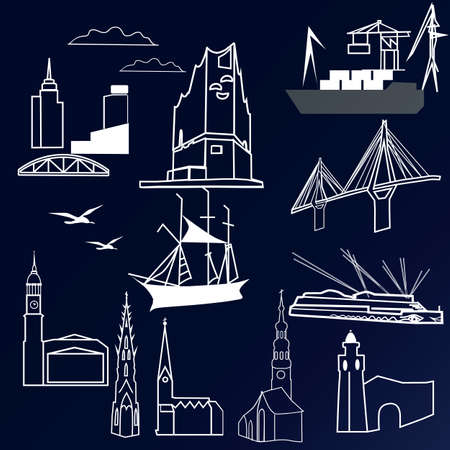 Vector illustration background with set miniature of hamburg Illustration