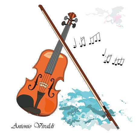 The violin as a symbol of Venice Antonio Vivaldi. Vector illustration background or post card