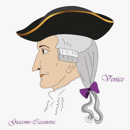 Profile of the famous Venetian adventurer and writer Giacomo Casanova. Vector illustration.