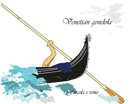 Vector illustration background or post card with forcola and remo from a venetian gondola