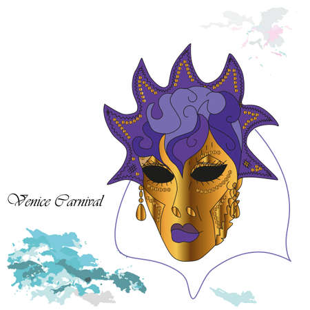 Vector illustration background with venetian mask at the carnival