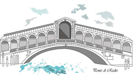 Vector illustration background or post card with brige rialto in venice