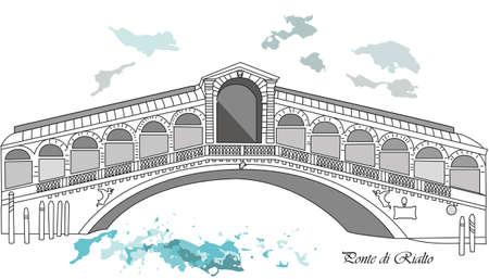 rialto: Vector illustration background or post card with brige rialto in venice