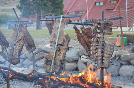 mutton chops: mutton chops roasted outside with firewood