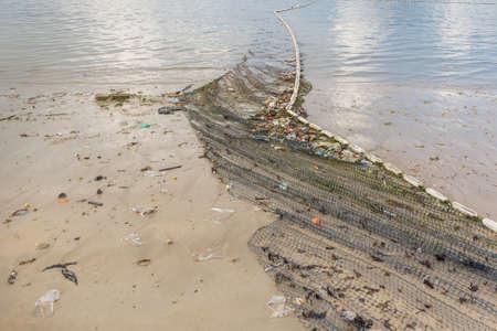 careless: Beach pollution on Thailand beach