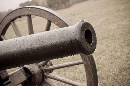 Closeup of Civil War Cannon Barrel, Sepia Tones photo