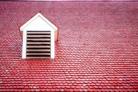 dormer: Red Wooden Tile Roof with Dormer Stock Photo