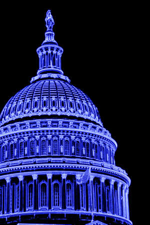 Stylized Abstract of US Capitol Dome - Blue photo