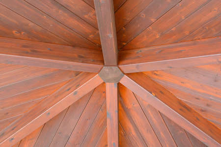 rafters: Roof wooden hand built with planks and beams