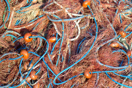 floats: Fishing net with floats ready for use