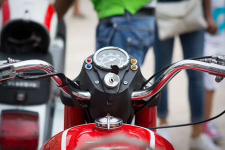 blurr: motorcycle ancient and well kept sight handlebar Stock Photo