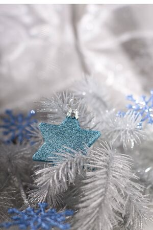 blithe: Christmas decoration in silver tone with blue decor
