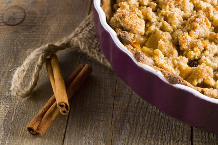cake plate: Apple pie with crumble. Stock Photo