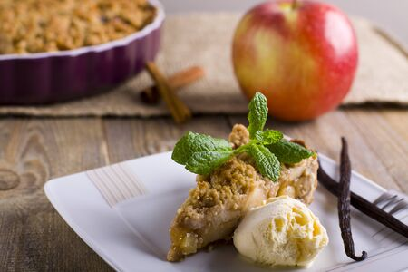 to crumble: Apple pie with crumble. Stock Photo
