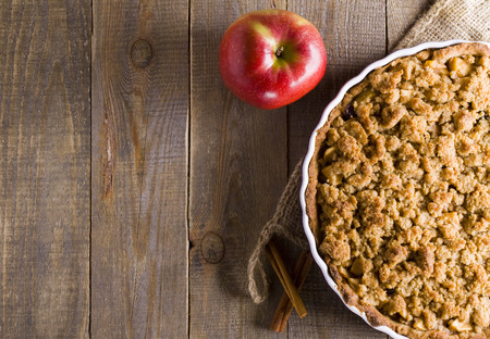 Apple pie with crumble. A piece of cake. Stock Photo
