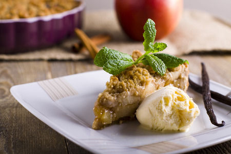 Apple pie with crumble. A piece of cake. Stock fotó
