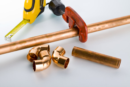 copper pipe: copper pipe and fittings.
