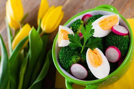 broccoli salad: Broccoli salad with tulip flowers.