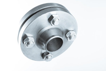 flanges: Two neck flanges connected together and bolted - isolated.