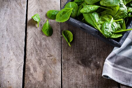 baby spinach: Baby spinach in wooden box and kitchen towel on old plank table with copy space. Stock Photo