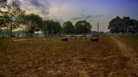 stud: Outdoor parade ground of Stud at sunrise. Country view.