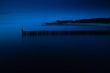 baltic sea: Sea coast at night. Baltic Poland.