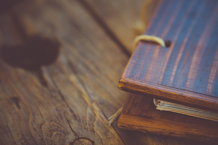 binding: Background of wooden plank with binding menu. Stock Photo