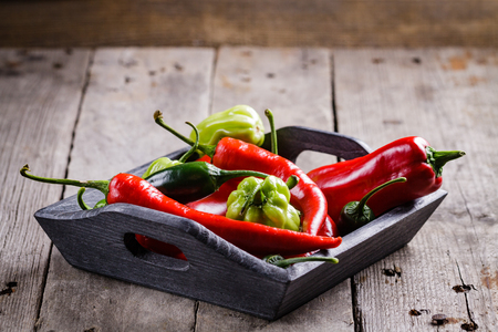 Mix sweet and spicy peppers. Stock fotó