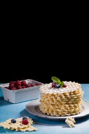 Belgian lush round waffles with fresh raspberries, twigs and leaves minty in plate.