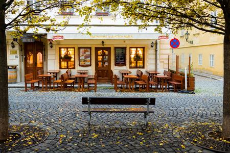 PRAGUE, CZECH REPUBLIC - November 12, 2016: The entrance to the restaurant in Prague.