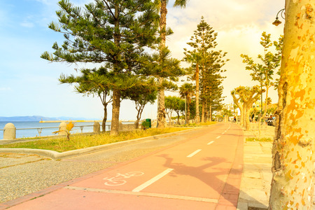 Cycle path in Kos Greece. Stock Photo