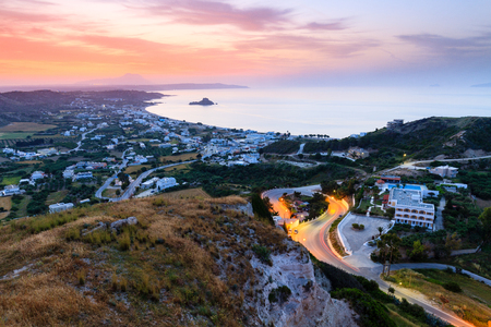 Beautiful morning aerial view of the village Kefalos, Kastri island and the coast of Kos, Dodecanese, Greece Standard-Bild