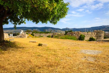 Fortress of Neratzia Castle ruins in Kos island, Greece.