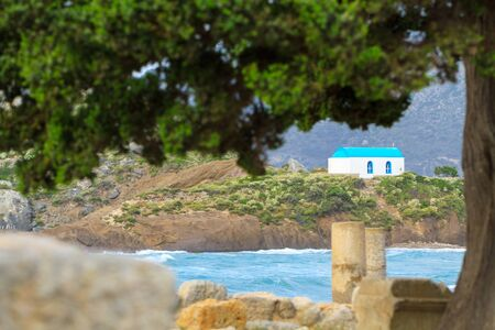 Ancient ruins and Kastri small island with famous wedding chapel in Kos island Greece.