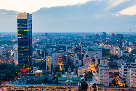 Warsaw top view on city center at dusk. Imagens