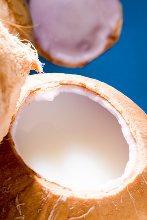 Open young coconut with fresh cocos water.
