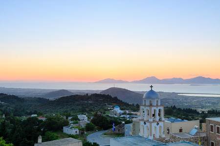 Sunset view from Asfendiou village in Kos island Greece Stock Photo