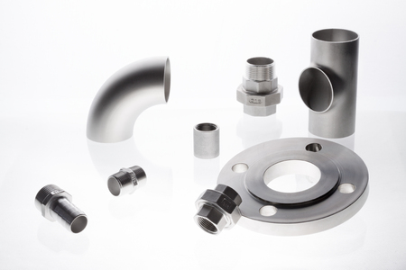 The stainless steelcoupling fittings is isolated on white background.