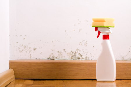 Spray to remove mould on the wall in house. Remove the mold problem. Stock Photo - 90499720